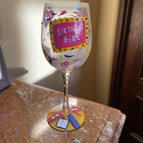 Lolita wine glass birthday girl